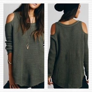 FREE PEOPLE Army Green Knit Cold Shoulder Sweater